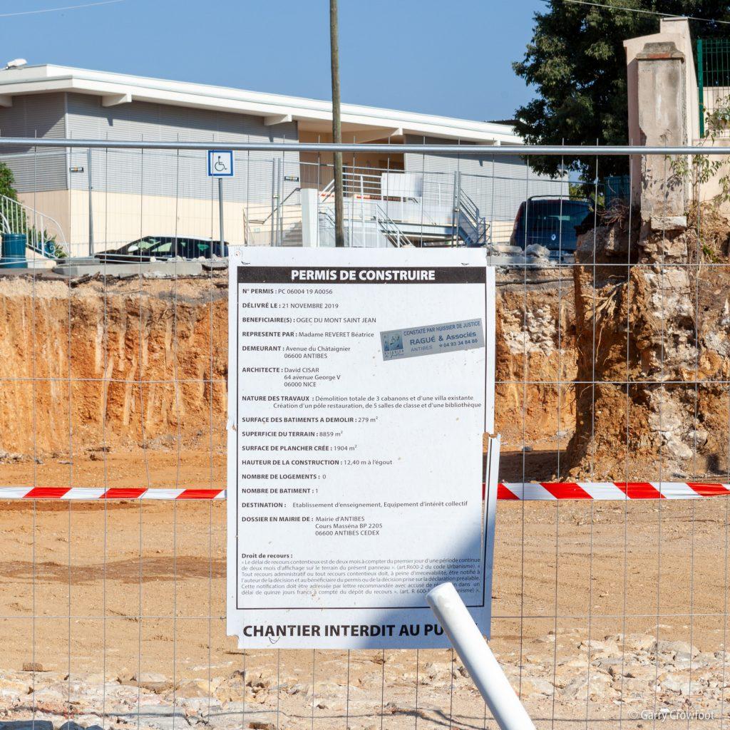 Institution Mont St Jean école Châtaignier Antibes permis construire